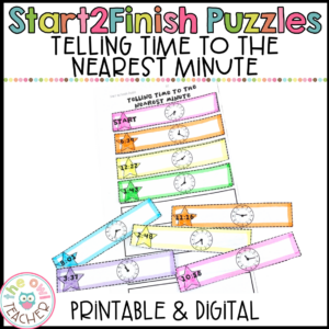 Telling Time Start2Finish Math Puzzles Printable & Digital (Google)