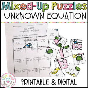 Unknown Number in an Equation Mixed Up Puzzles Printable & Digital (Google)