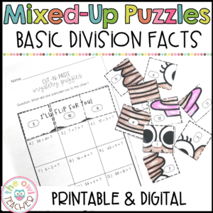 Division Fact Practice Mixed Up Puzzles Printable & Digital (Google)