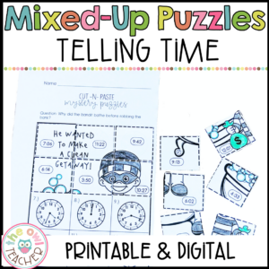 Telling Time to the Nearest Minute Mixed Up Mystery Math Puzzles