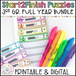 3rd Grade Entire Year Printable & Digital (Google) Start2Finish Math Puzzles