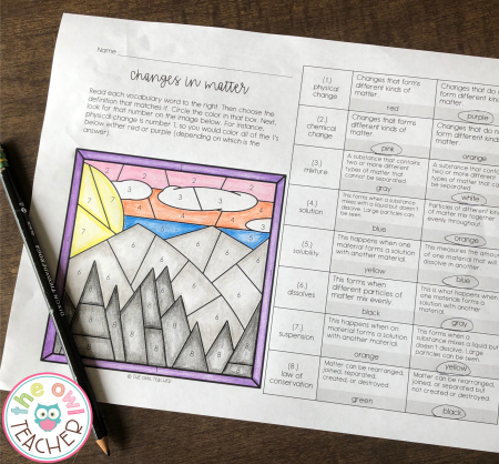 Engage your students with this matter color-by-number activity to help them learn their science vocabulary!