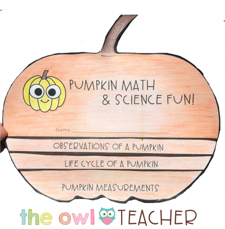 This pumpkin flipbook is free when you read all about the science and math pumpkin activities on The Owl Teacher Blog!