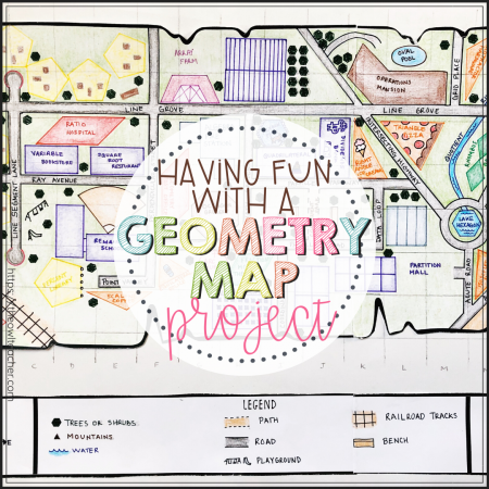 Explore learning the important geometry terms while working on a hands-on math project that integrates social studies! This geometry map project will engage your students definitely help them meet those all-important standards!
