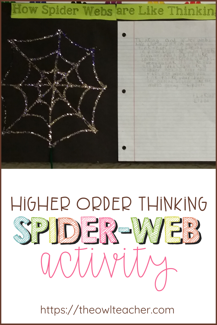 Have your students compare how a spider web is similar to our thinking. Check out this higher order thinking activity we did in the classroom!