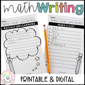 Math Journal Writing Response Printable & Digital (Google)