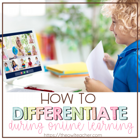 Trying to differentiate during online learning can feel like a huge challenge. This post provides lots of ideas to help make distance learning easier when it comes to differentiation in the classroom!