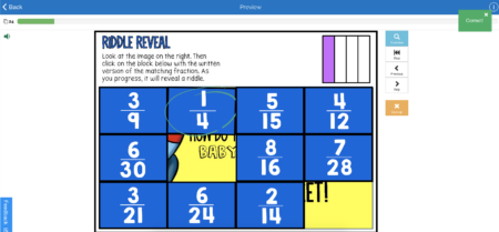 This is an example of the Riddle Reveal Identifying Fractions Boom Card Learning Deck. It is a great way for students to practice or review important concepts in math.