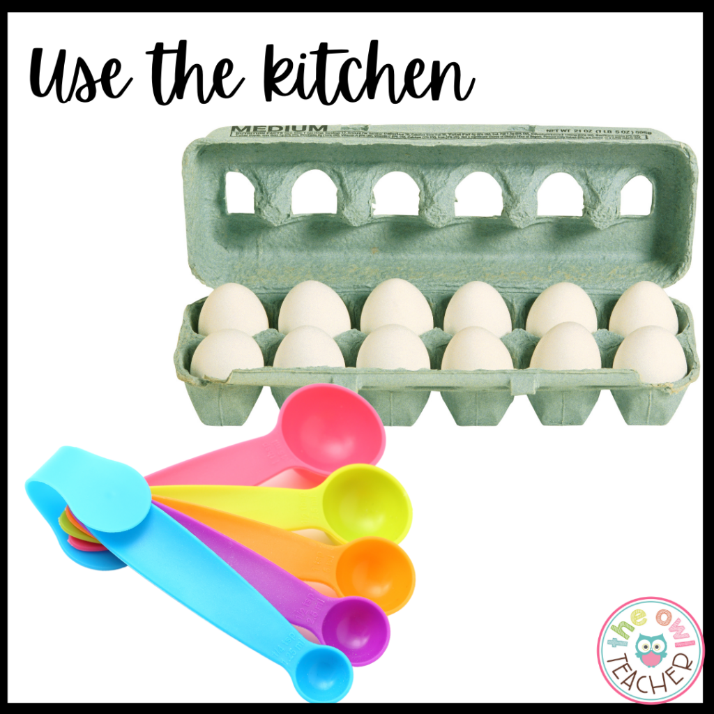 When teaching students online virtually about equivalent fractions, consider using materials from the kitchen such as recipes, egg cartons, pancakes, and other materials to help engage them and make learning about fractions a success.