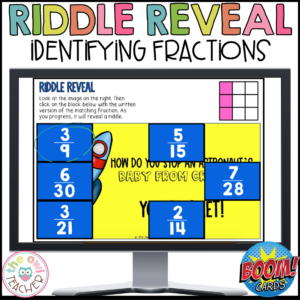 Identifying Fractions Riddle Reveal Boom Cards