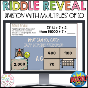 Division with Multiples of 10 | Riddle Reveal Boom Cards