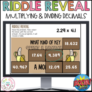 Multiplying and Dividing Decimals | Riddle Reveal Boom Cards