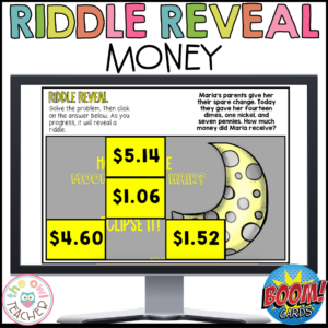 Adding and Subtracting Money Word Problems Riddle Reveal Boom Cards