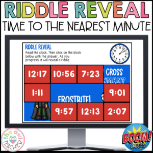 Telling Time to the Nearest Minute – Riddle Reveal Boom Cards