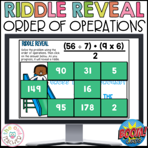 Order of Operations Riddle Reveal Boom Cards