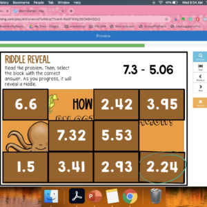 Adding and Subtracting Decimals Riddle Reveal Boom Cards